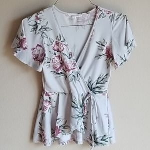 Caution To The Wind Peplum Cinched Floral …